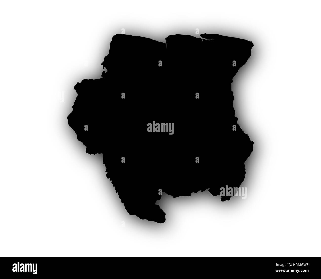 Map of Suriname with shadow - Stock Image