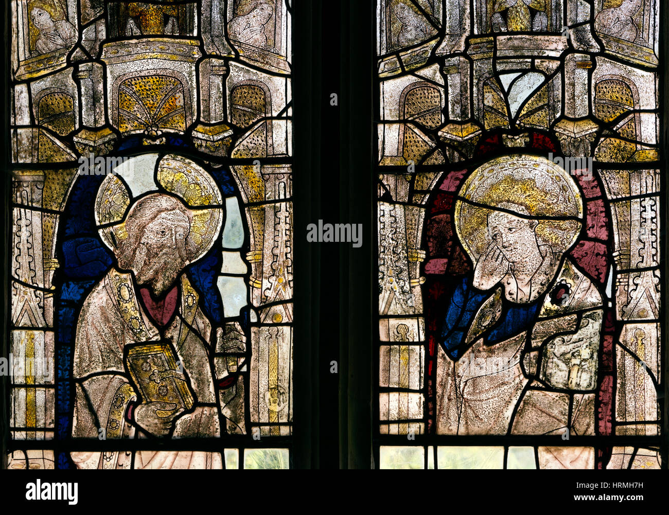 Medieval stained glass, St. Michael and All Angels Church, Stanton, Gloucestershire, England, UK - Stock Image
