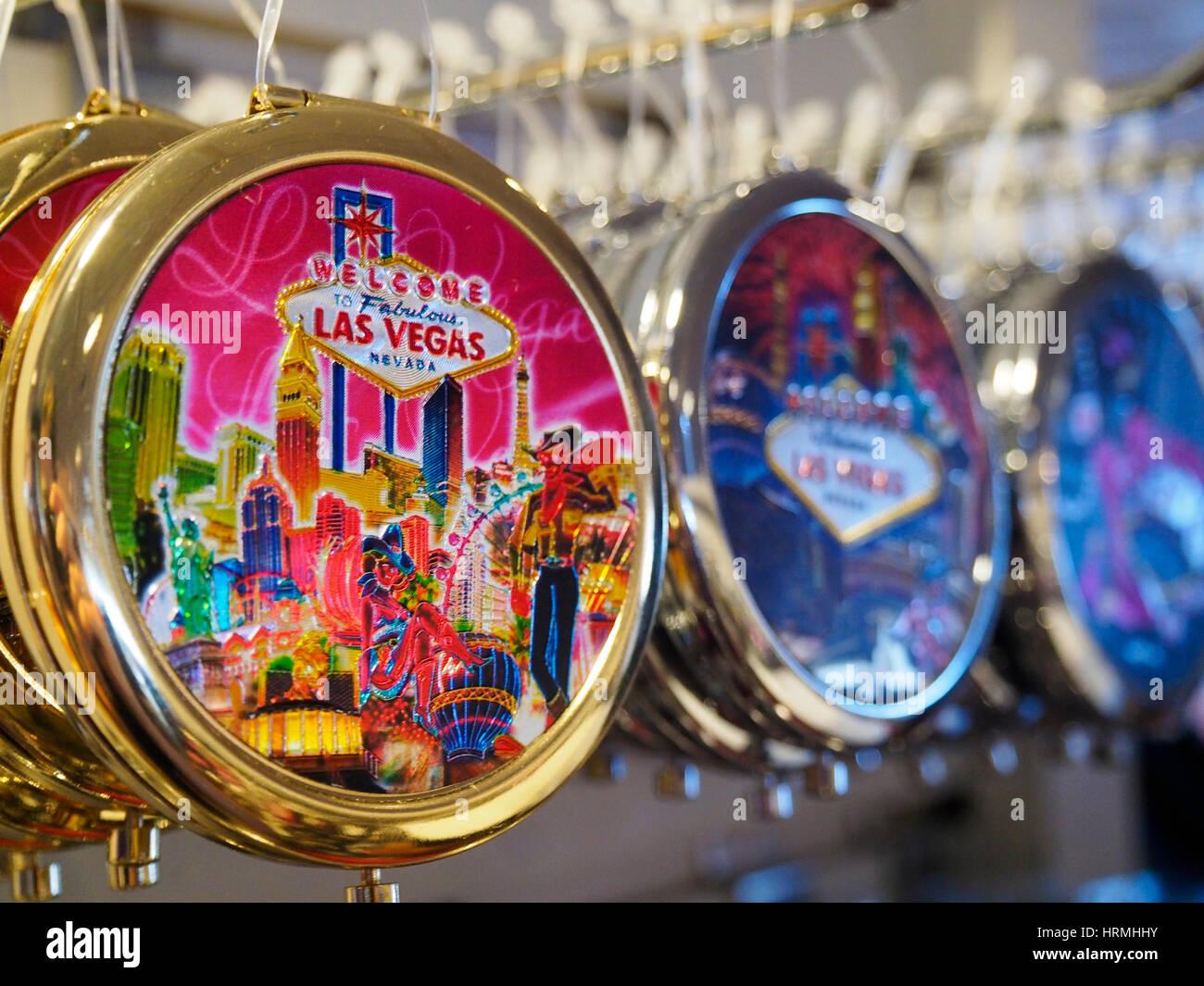 Las Vegas key chain souvenirs in a shop in Las Vegas - Stock Image