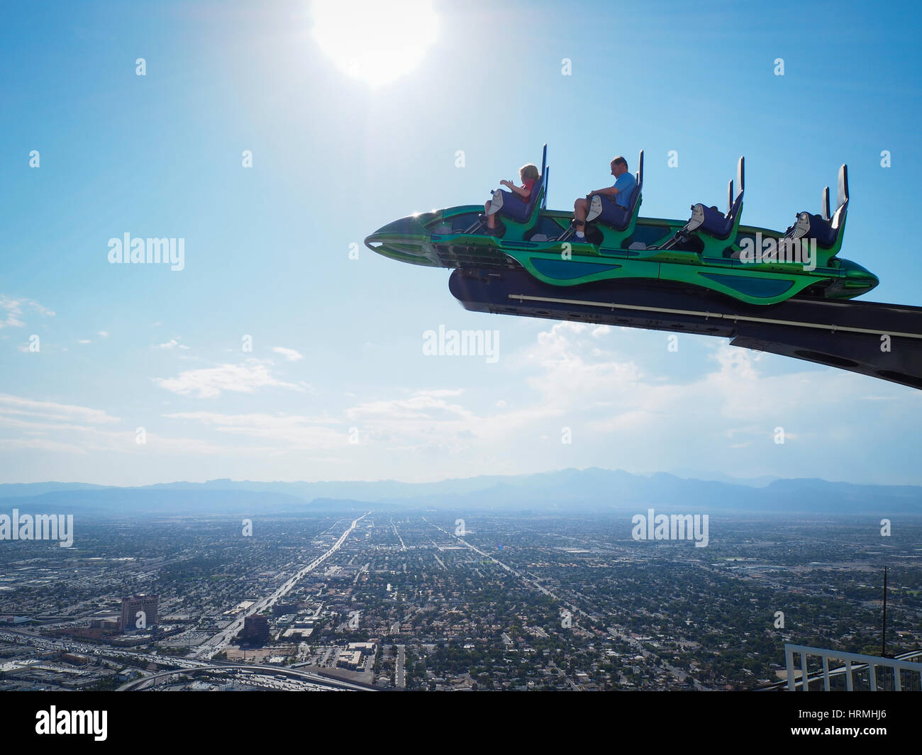 Thrill ride 'X-Scream' on top of the Las Vegas Stratosphere tower (1149 ft/350m), the tallest freestanding - Stock Image