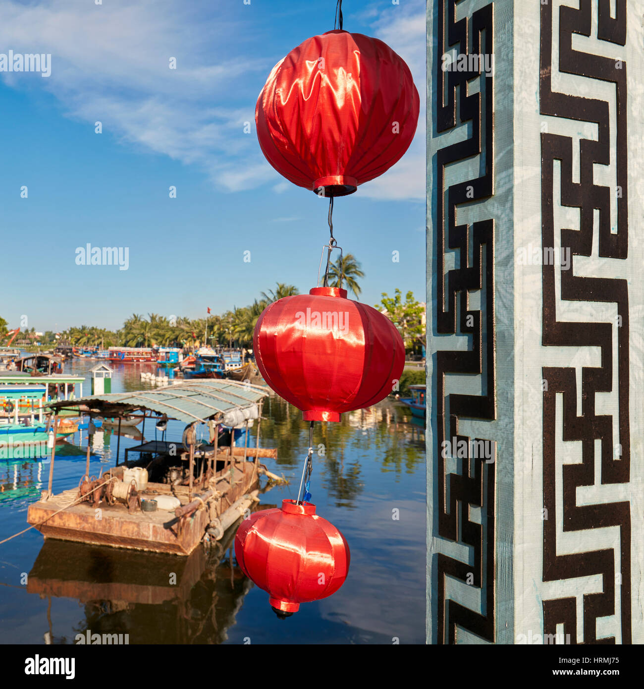 Lanterns on the Cau An Hoi Bridge. Hoi An, Quang Nam Province, Vietnam. - Stock Image