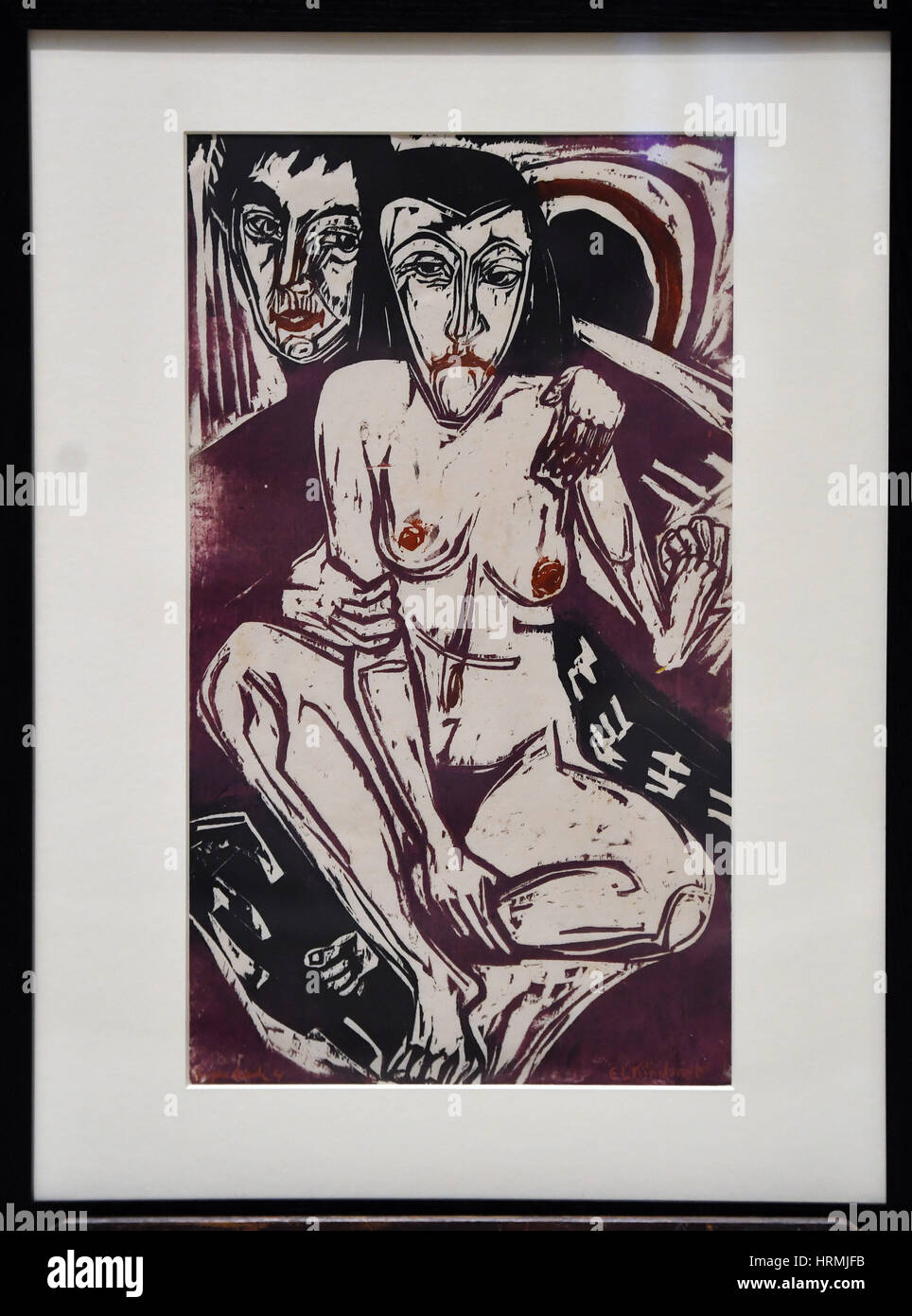 The Melancholic Girl by Ernst Ludwig Kirchner, 1928, during a press call in London ahead of the Victoria and Albert - Stock Image
