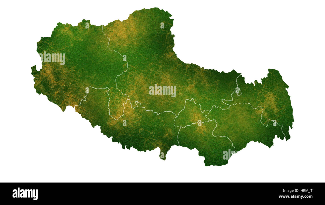 Tibet detailed country map visualization - Stock Image