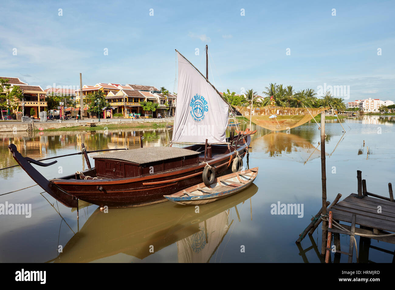 Traditional sail boat on the Thu Bon River. Hoi An, Quang Nam Province, Vietnam. Stock Photo