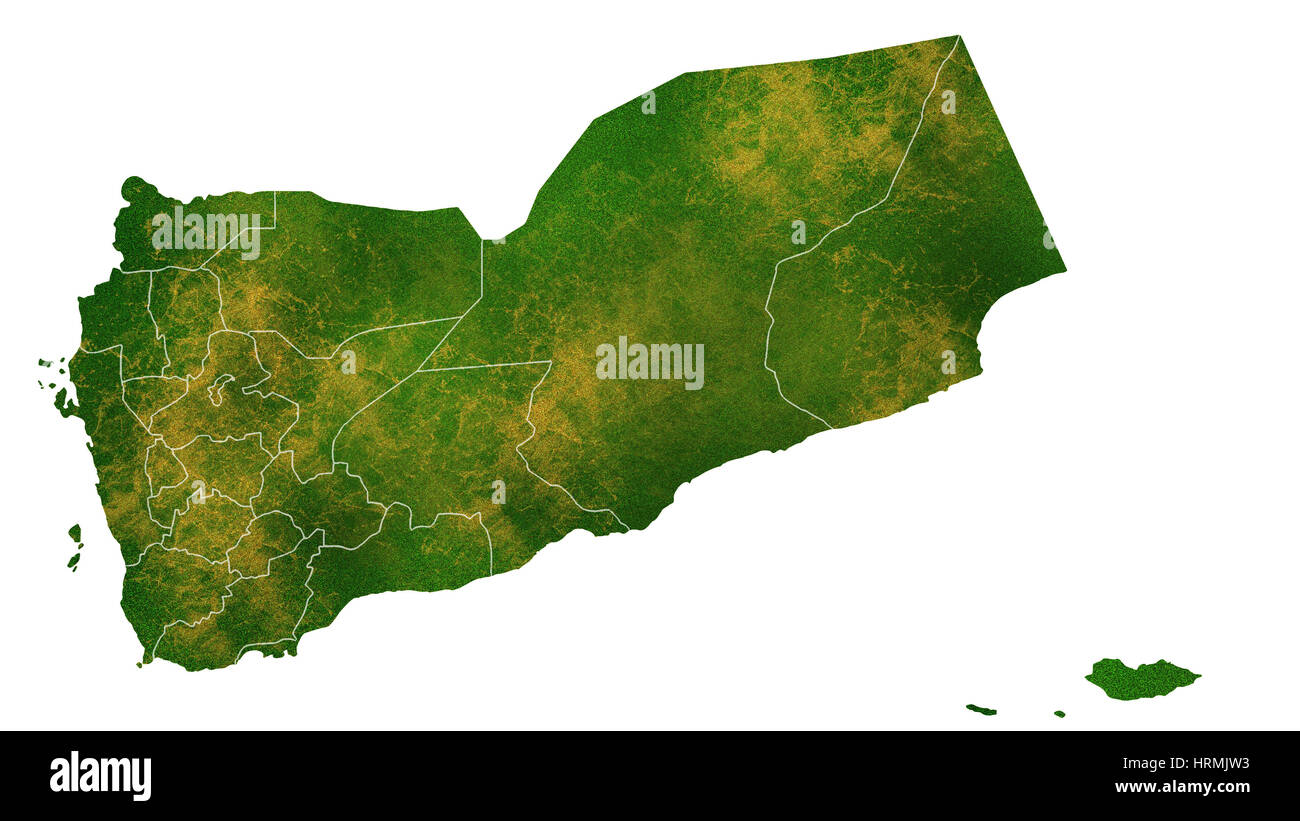 Yemen detailed country map visualization - Stock Image
