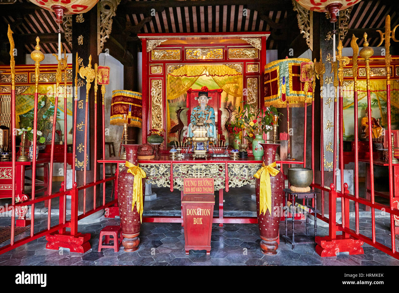 Interior of the Minh Huong Communal House. Hoi An Ancient Town, Quang Nam Province, Vietnam. - Stock Image