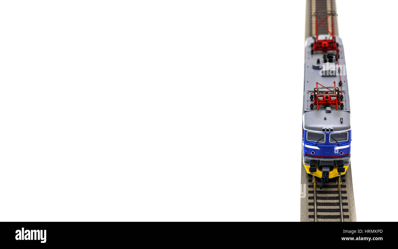 Electric locomotive on white backgroud - Stock Image