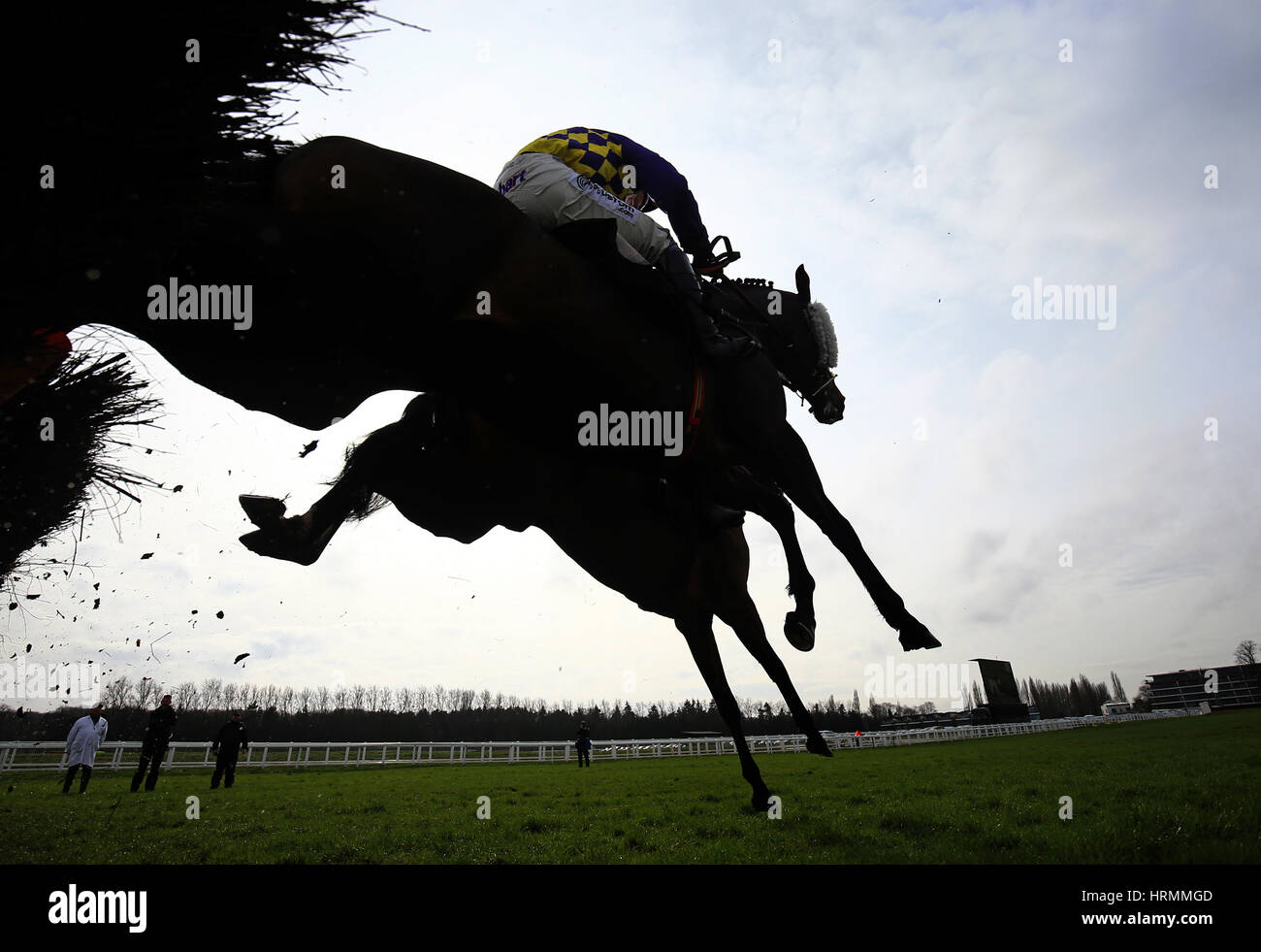 Dinsdale (nearside) ridden by Liam Treadwell jumps the last to win the Pheasant Inn Juvenile Hurdle Race at Newbury - Stock Image
