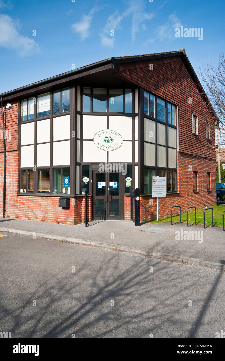 Exterior Outside Front Entrance To Wayside NHS National Health Service Doctors Surgery Horley Surrey England UK - Stock Image