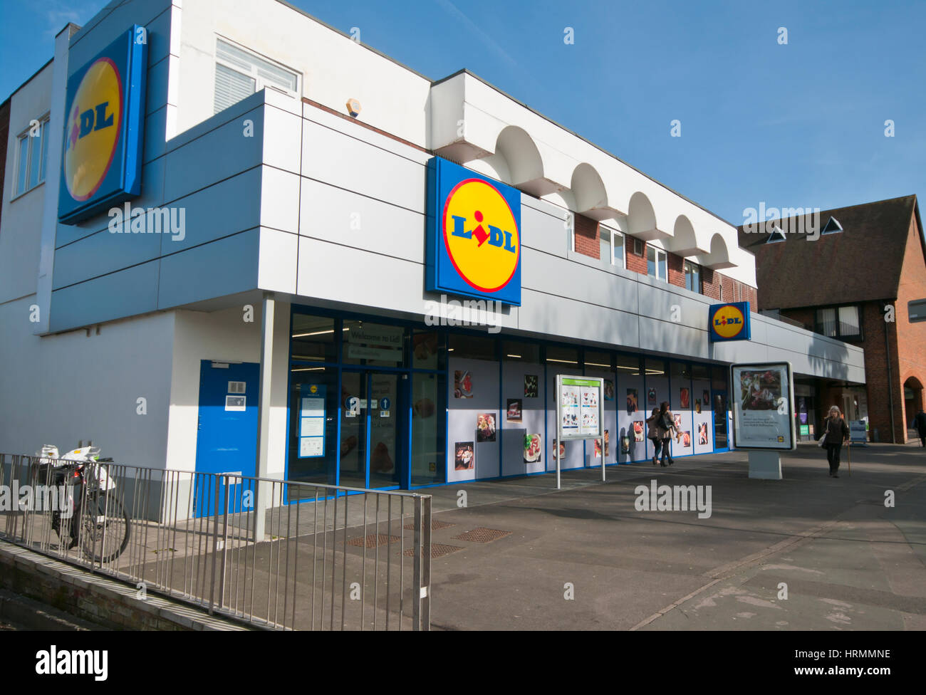 Exterior Outside Front Entrance To Lidl Supermarket Horley Surrey England UK - Stock Image