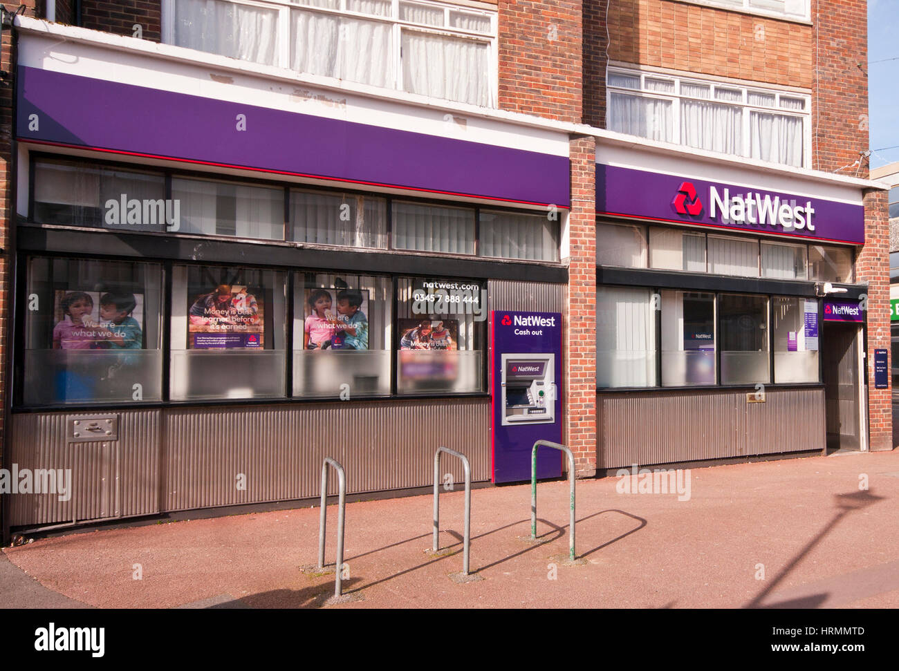 Exterior Outside Front Entrance To A Branch Of The Nat West Bank High Street Horley Surrey England UK National Westminster - Stock Image