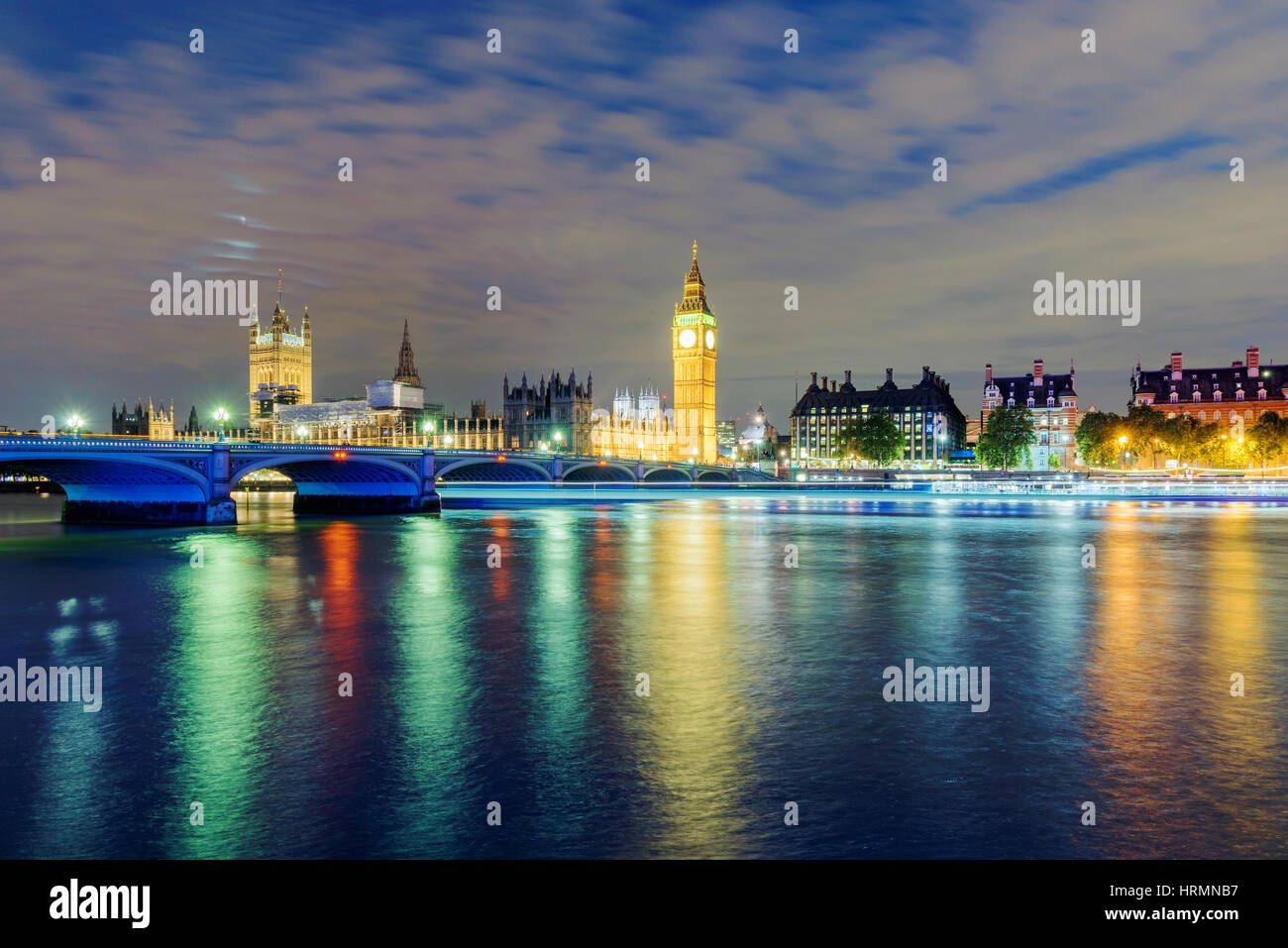 View of Big Ben and River Thames at night time - Stock Image