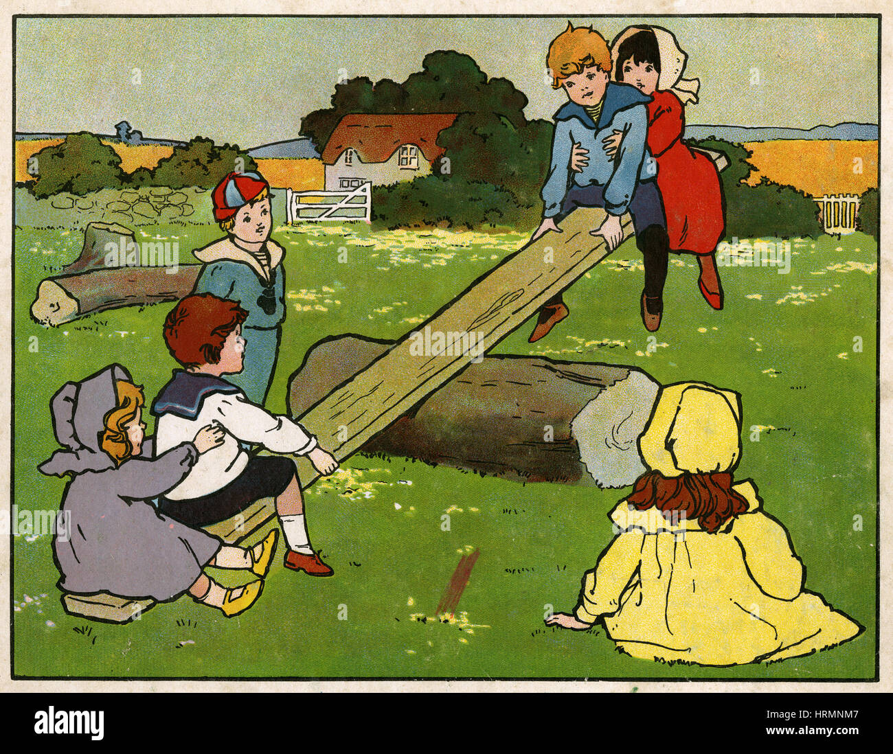 Antique c1890 English children's book illustration, See-Saw Margery Daw. - Stock Image
