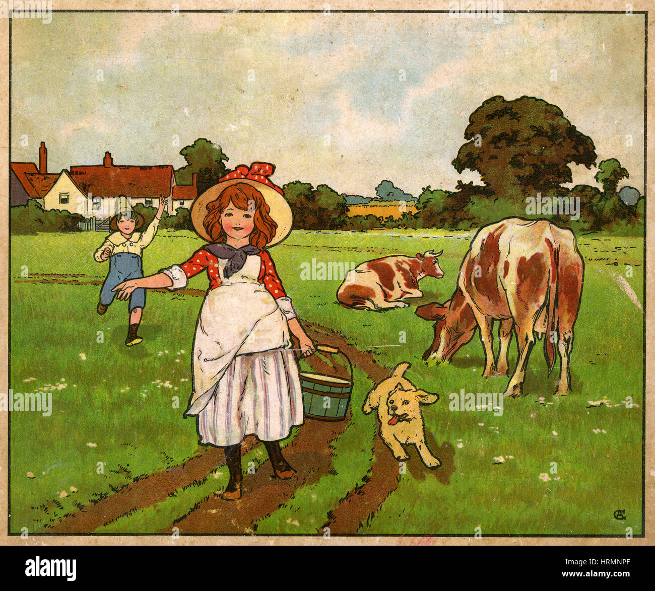 Antique c1890 English children's book illustration, Molly the Milkmaid. - Stock Image