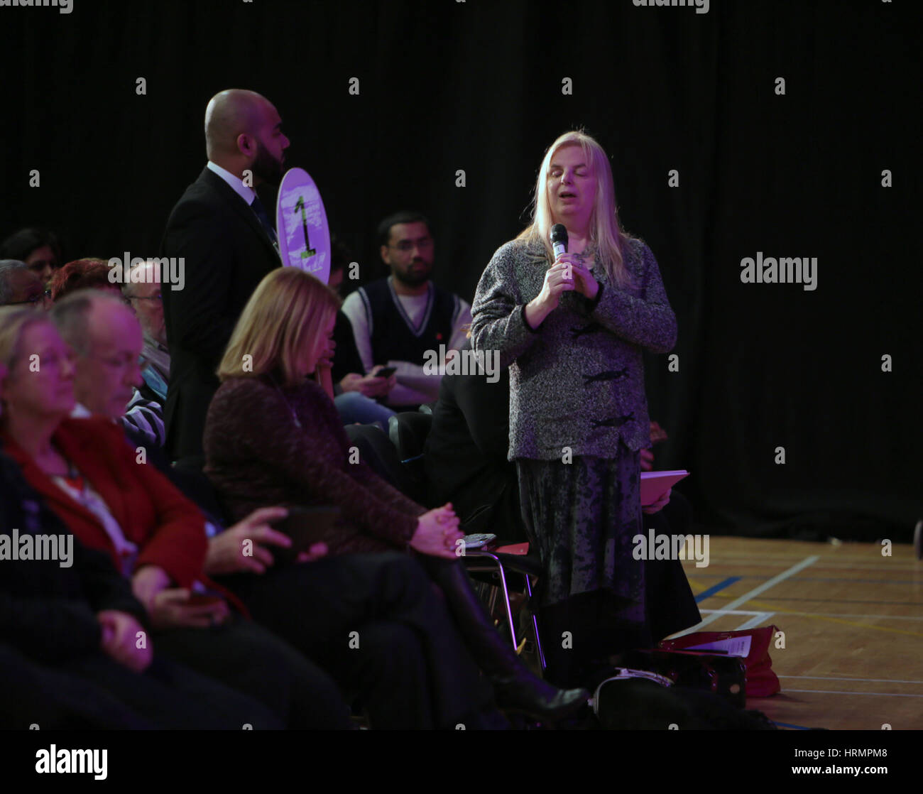 Sutton, UK. 2nd Mar, 2017.  People asking question to Sadiq Khan and members of the London Assembly inWestcroft - Stock Image