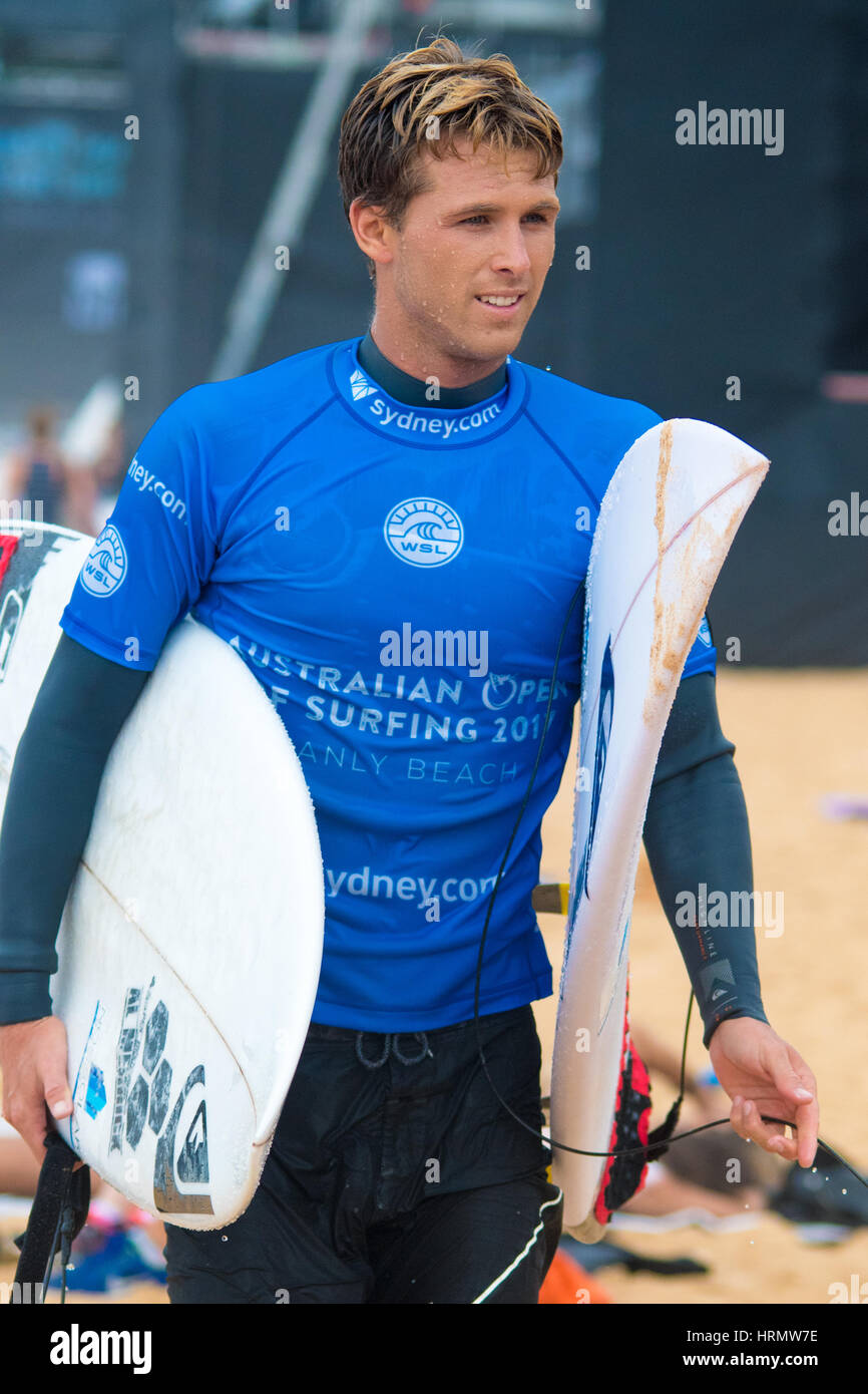Sydney, Australia - 3rd March 2017: Australian Open of Surfing Sports Event at Manly Beach, Australia featuring Stock Photo