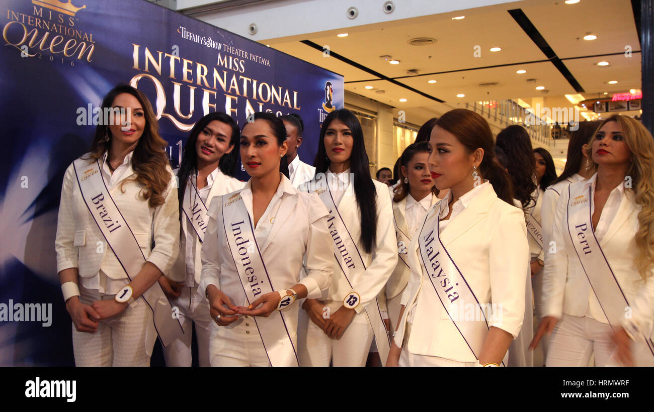 Contestants from 19 countries participating in the even before the final  round of transvestite and transgender beauty pageant Miss International  Queen 2016 ...