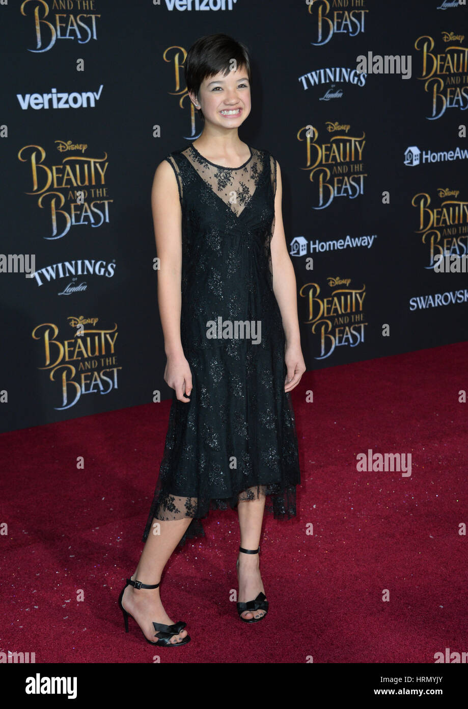 Los Angeles, USA. 02nd Mar, 2017. Actress Peyton Elizabeth Lee at the premiere for Disney's 'Beauty and - Stock Image