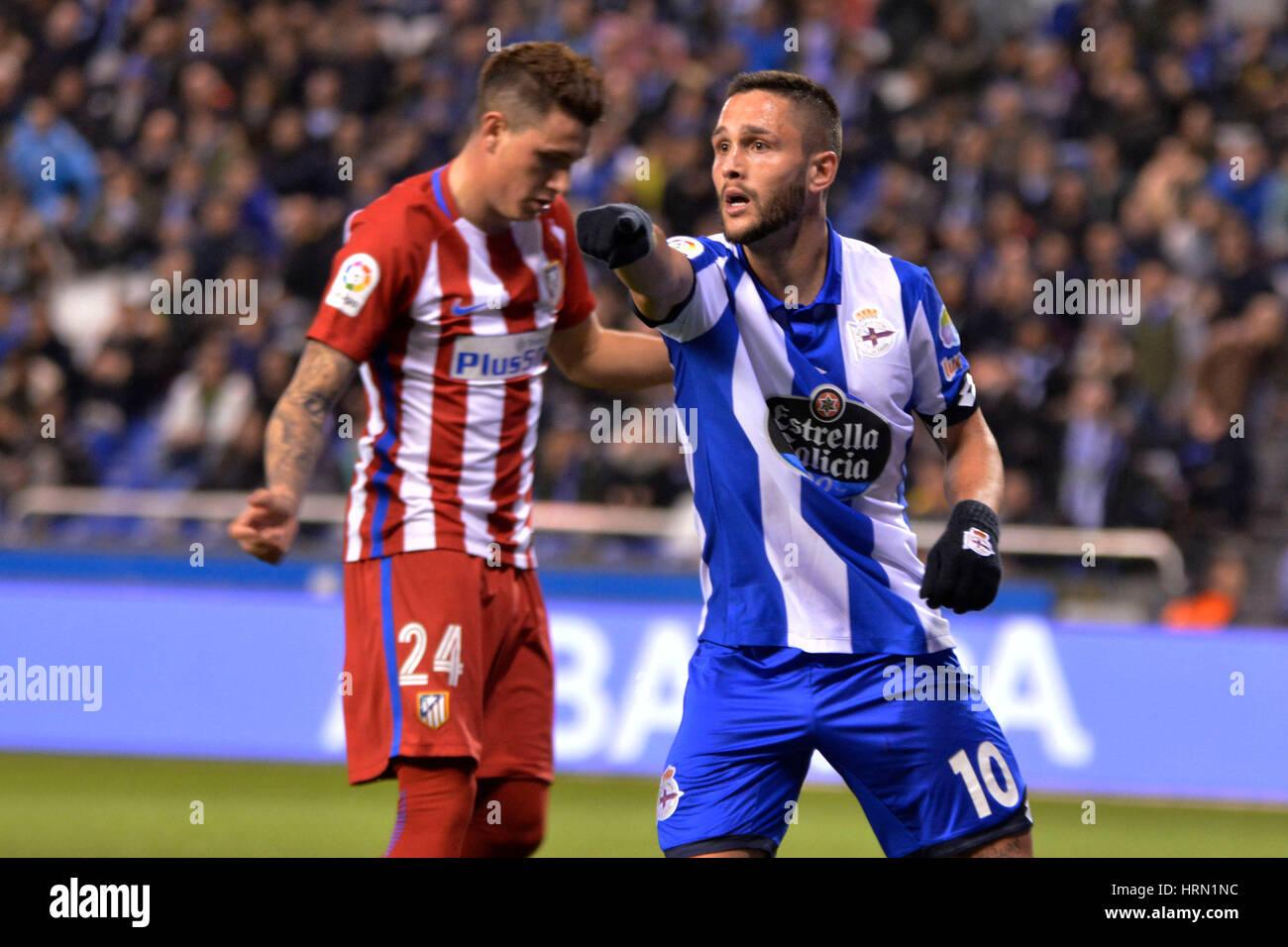 Riazor Stadium, La Coruna, Spain. 2nd March 2017. Andone. La Liga Santander Matchday 25. Riazor Stadium, La Coruna, - Stock Image