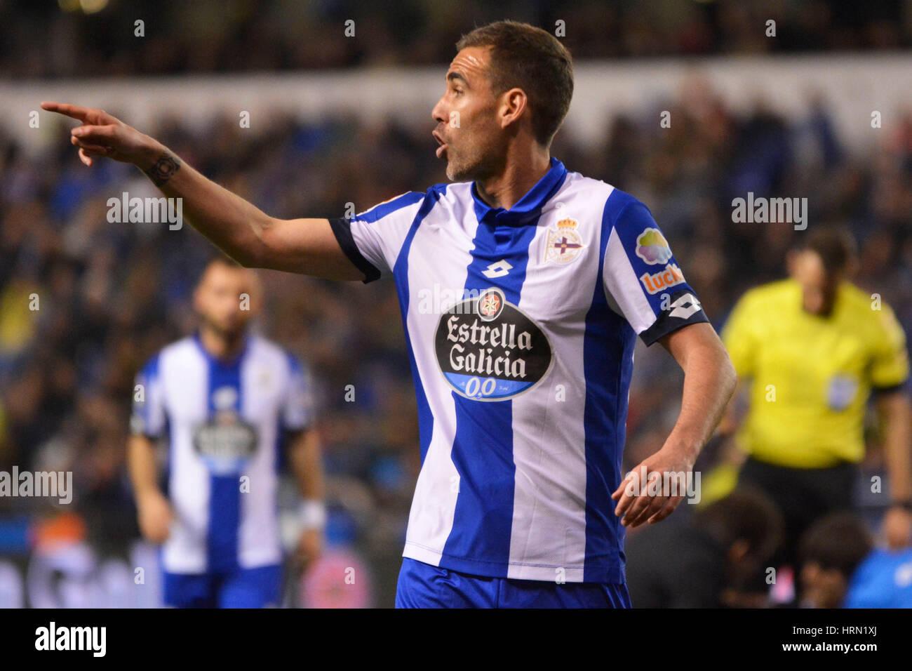 Riazor Stadium, La Coruna, Spain. 2nd March 2017. Navarro. La Liga Santander Matchday 25. Riazor Stadium, La Coruna, - Stock Image