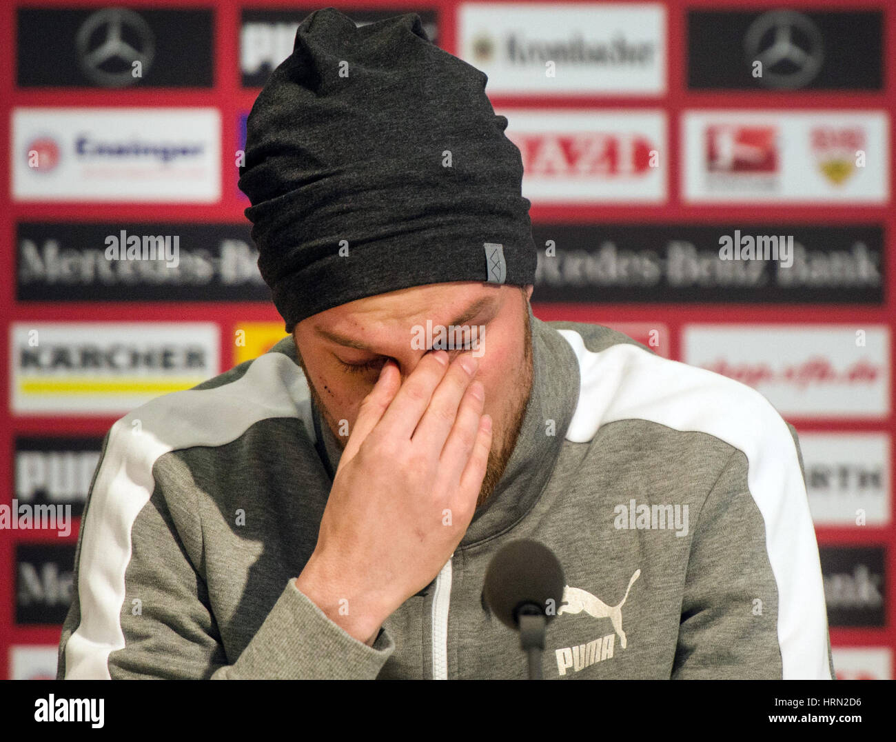 Stuttgart, Germany. 03rd Mar, 2017. A teary Kevin Grosskreutz offers his family and fans an apology for his indiscretions Stock Photo