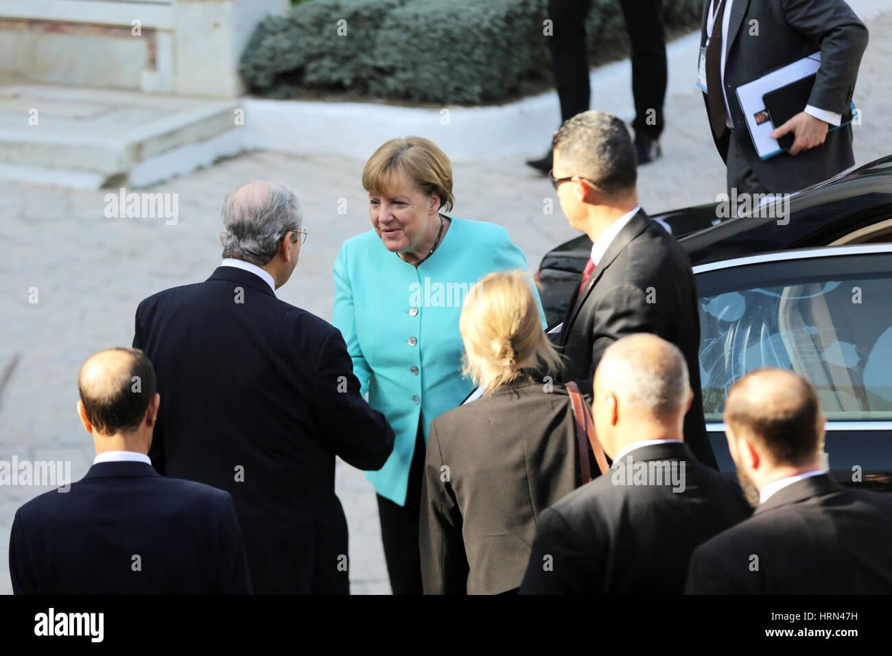Bardo, Tunisia. 3rd Mar, 2017. President of the Tunisian Parliament Mohamed Ennacer while he receives Angela Merkel. Stock Photo