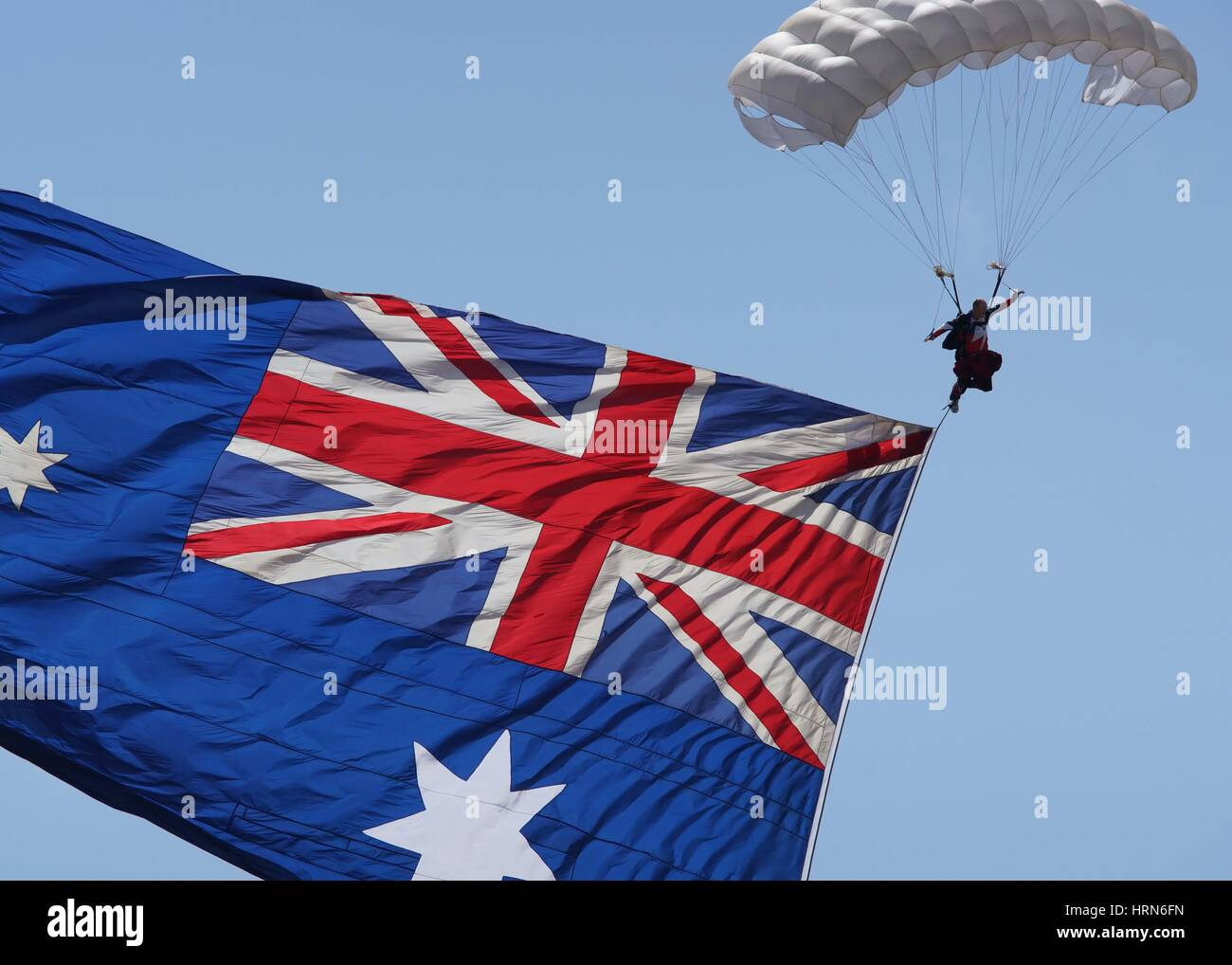 Melbourne, Australia. 3rd Mar, 2017. Photo taken on March 3, 2017 shows skydiving performance during the Australian Stock Photo