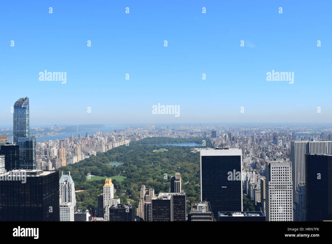 View of Central Park from the Top of the Rock - Stock Image