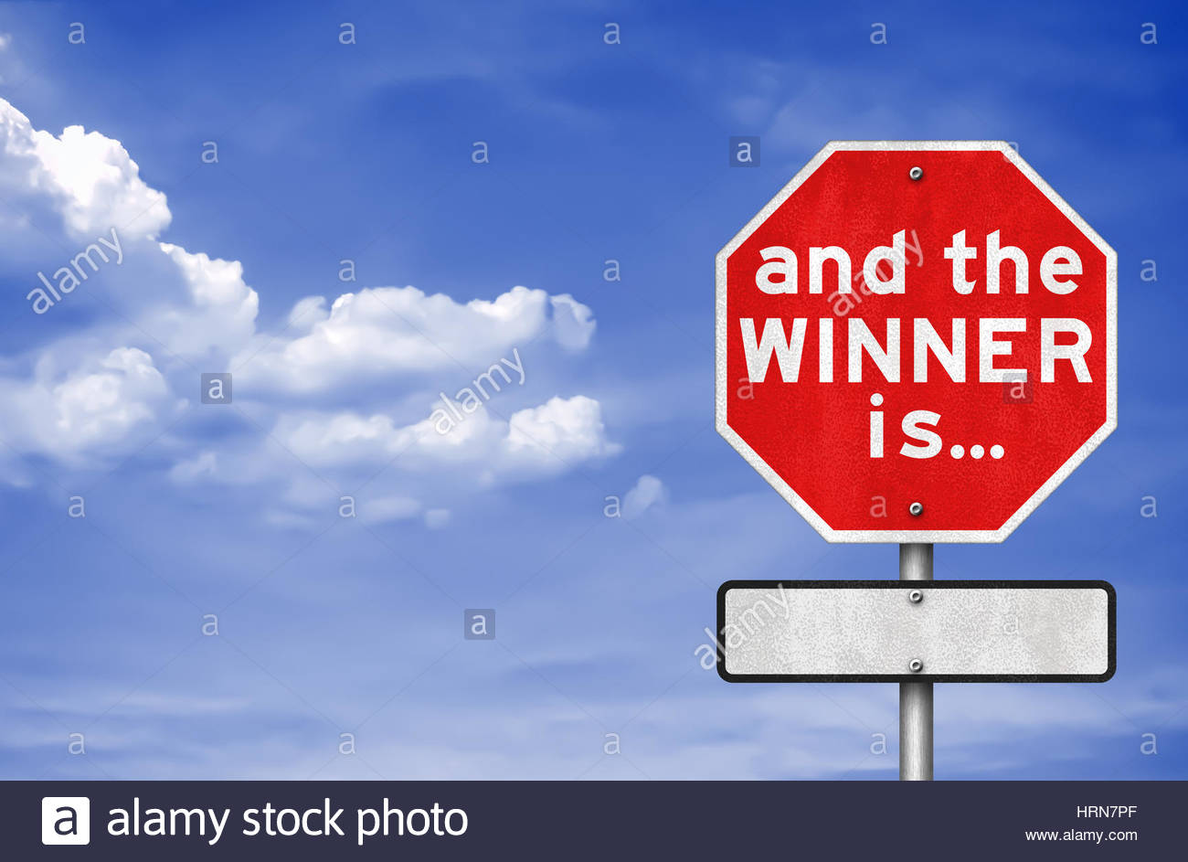 and the WINNER is - road sign concept - Stock Image