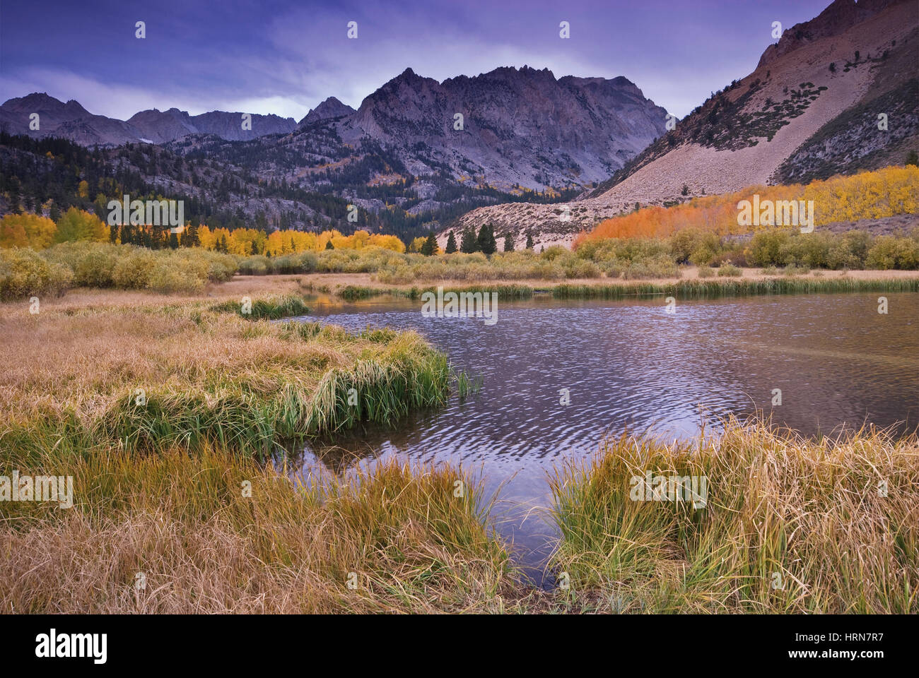 North Lake in Sabrina Basin in autumn Mt. Lamarck in far distance Evolution Region, John Muir Wilderness, Eastern - Stock Image