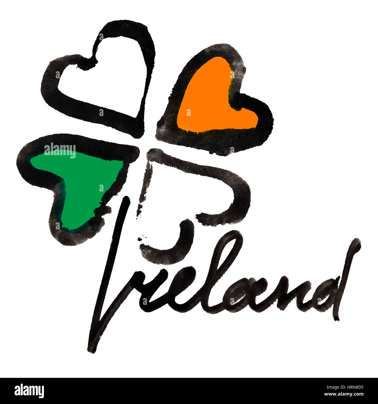 Ireland. Four leaf Irish clover with colors of the Ireland flag and lettering over white background Stock Photo