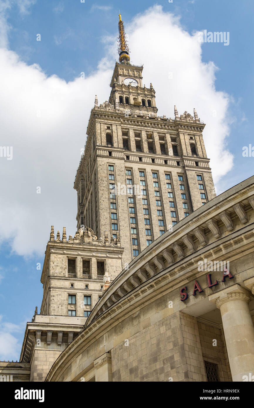 The Palace of Culture and Science in Warsaw, an example of Stalinist architecture Stock Photo
