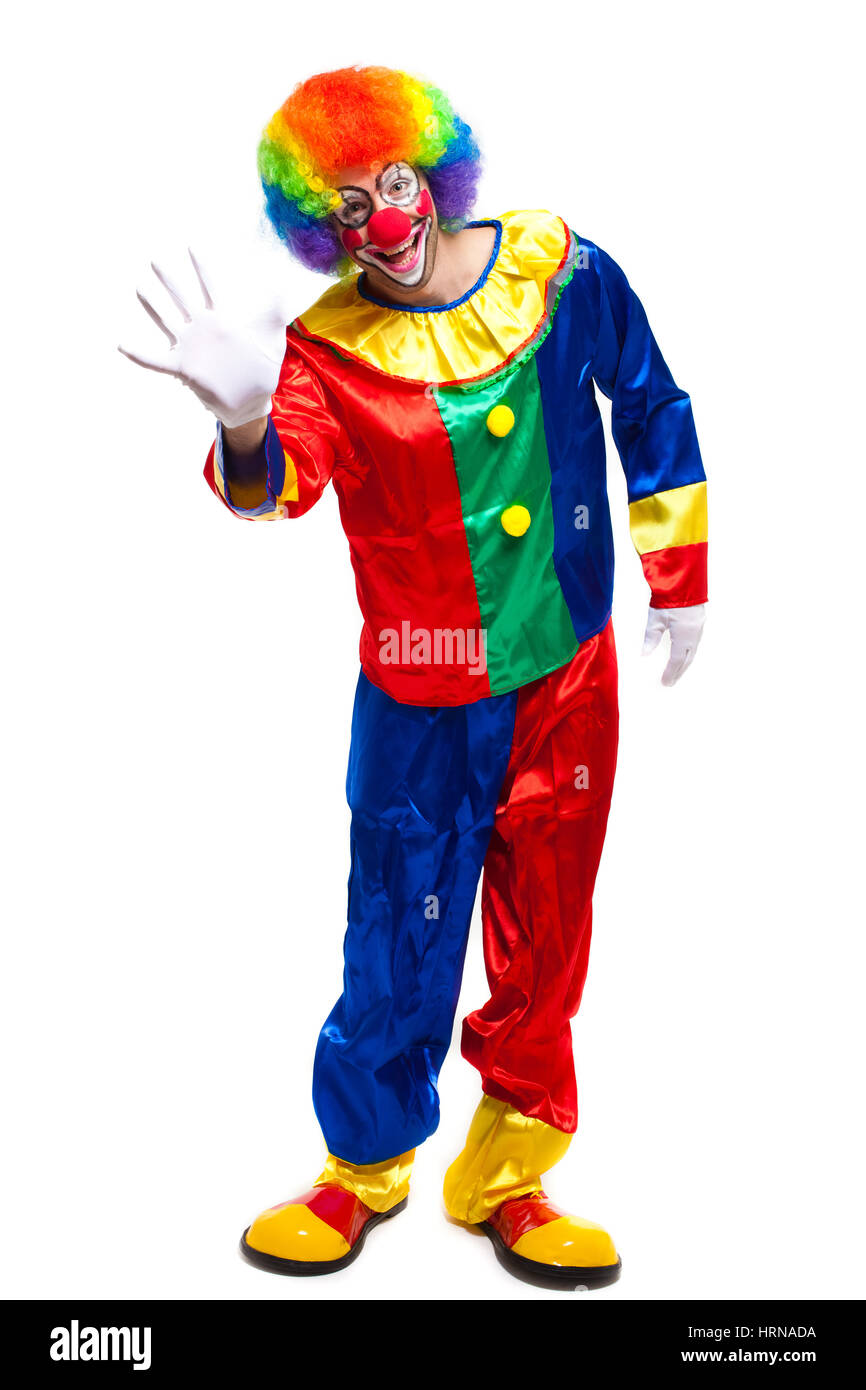 Full lenght clown saying hello - Stock Image