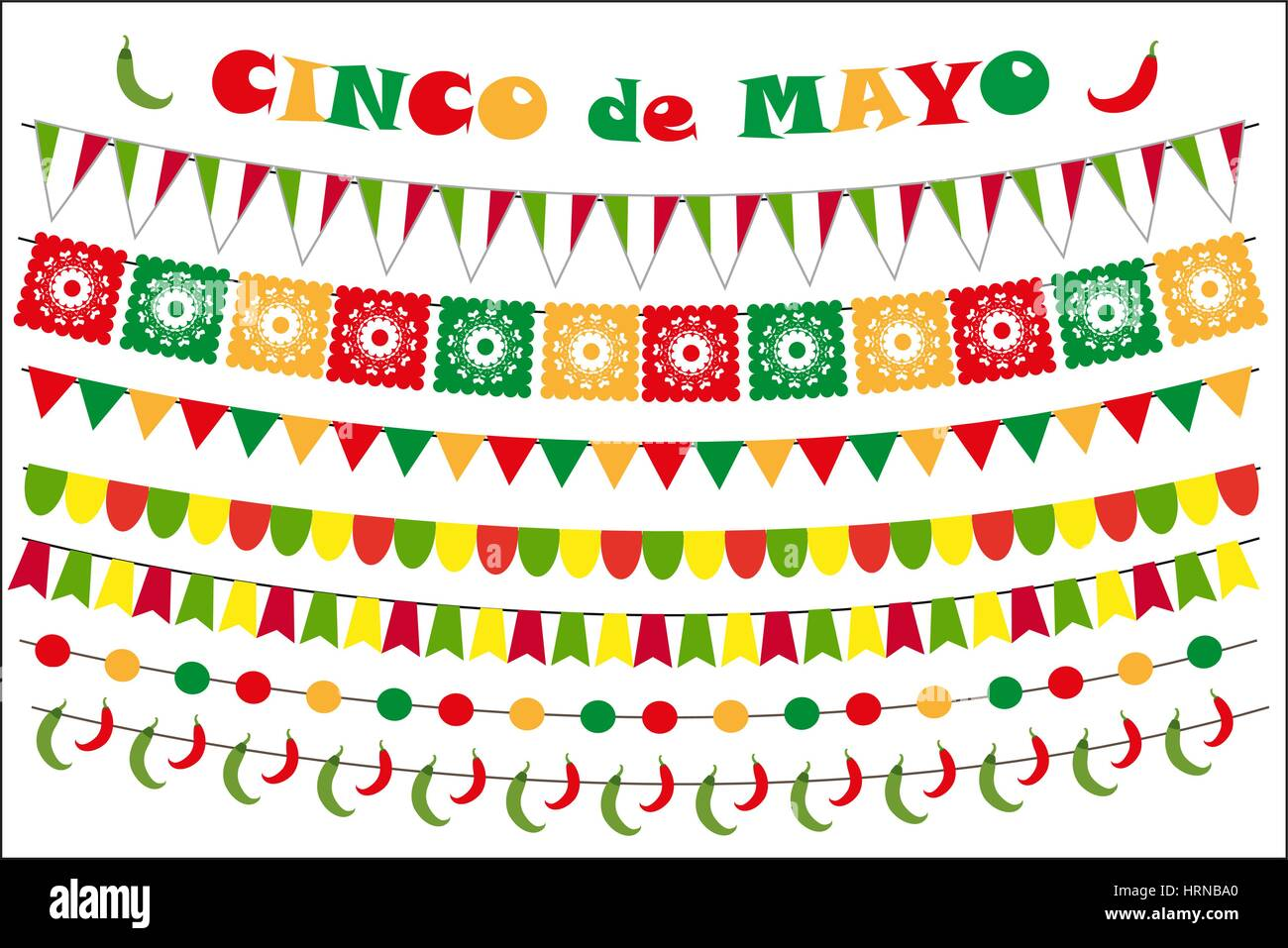 Cinco De Mayo Celebration Set Of Colored Flags Garlands Bunting Flat Style Isolated On White Background Vector Illustration Clip Art