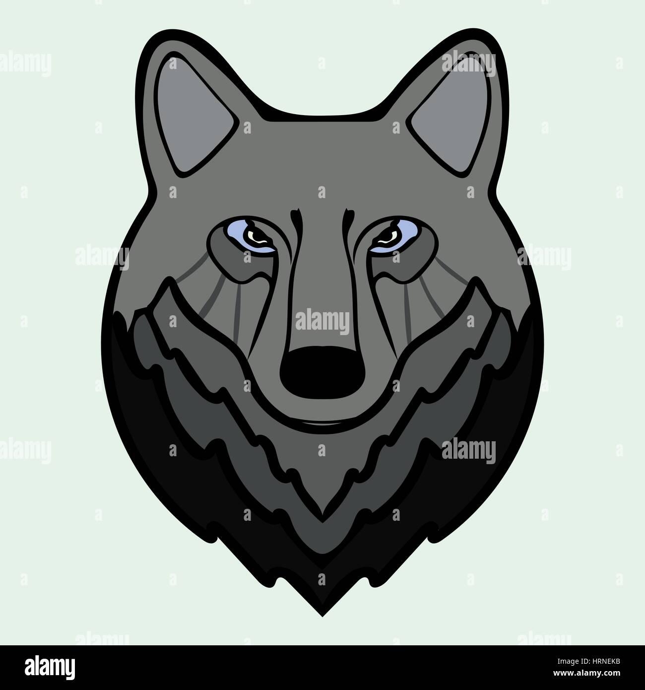 Wolf head black predator symbol freedom.  - Stock Image