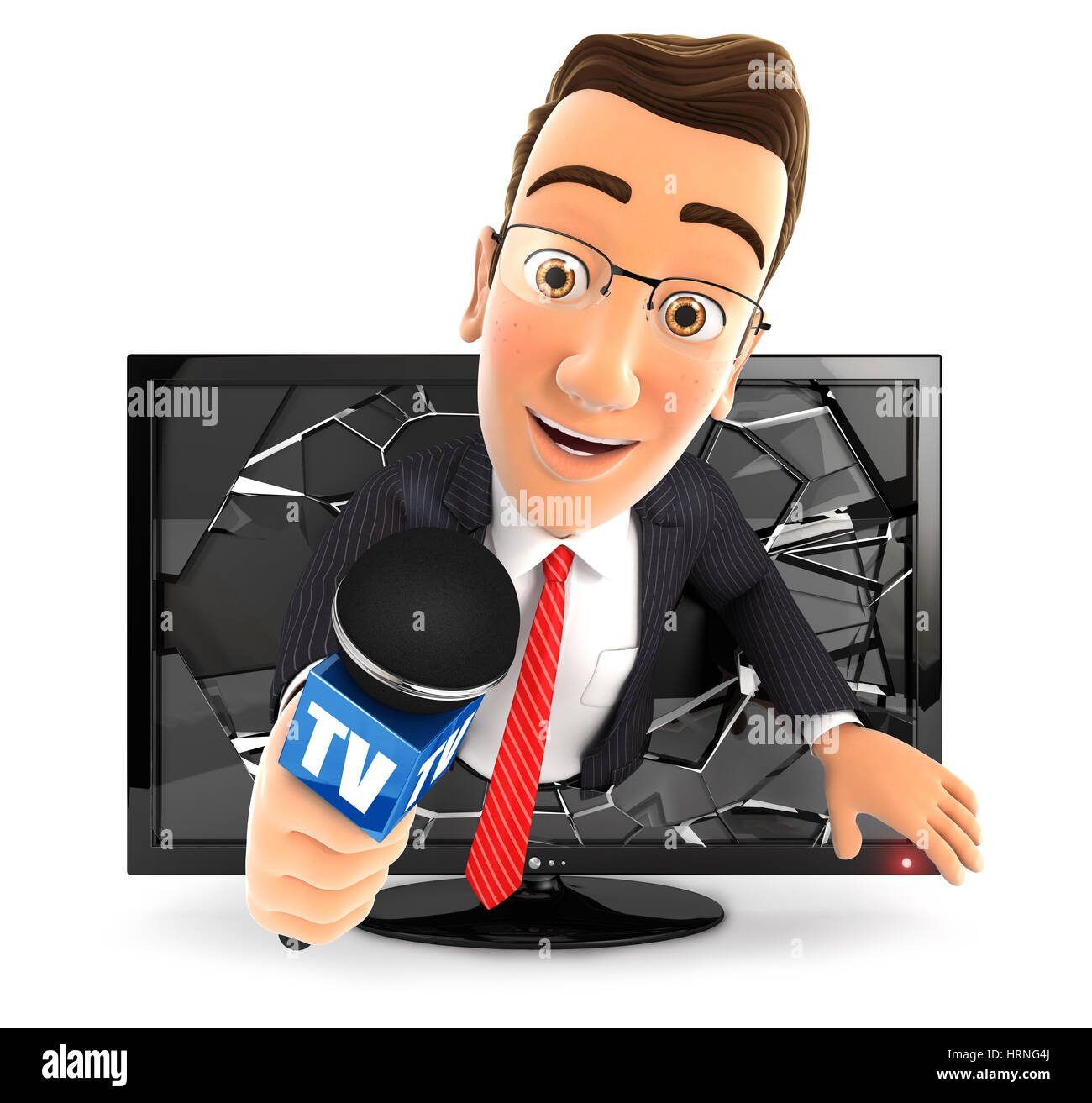 3d businessman with microphone coming out of television, illustration with isolated white background Stock Photo