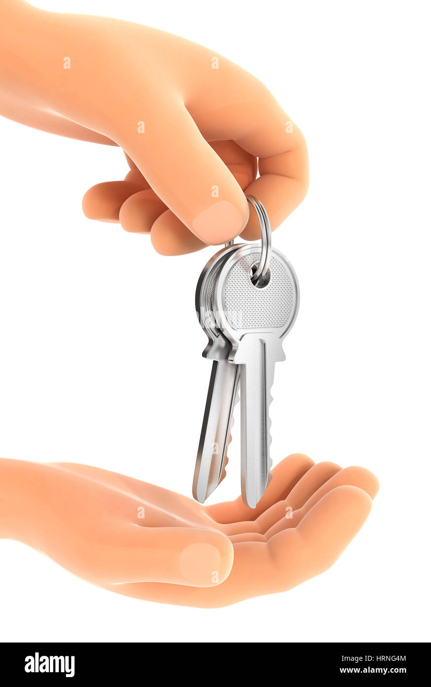 3d hand handing over the keys, illustration with isolated white background Stock Photo