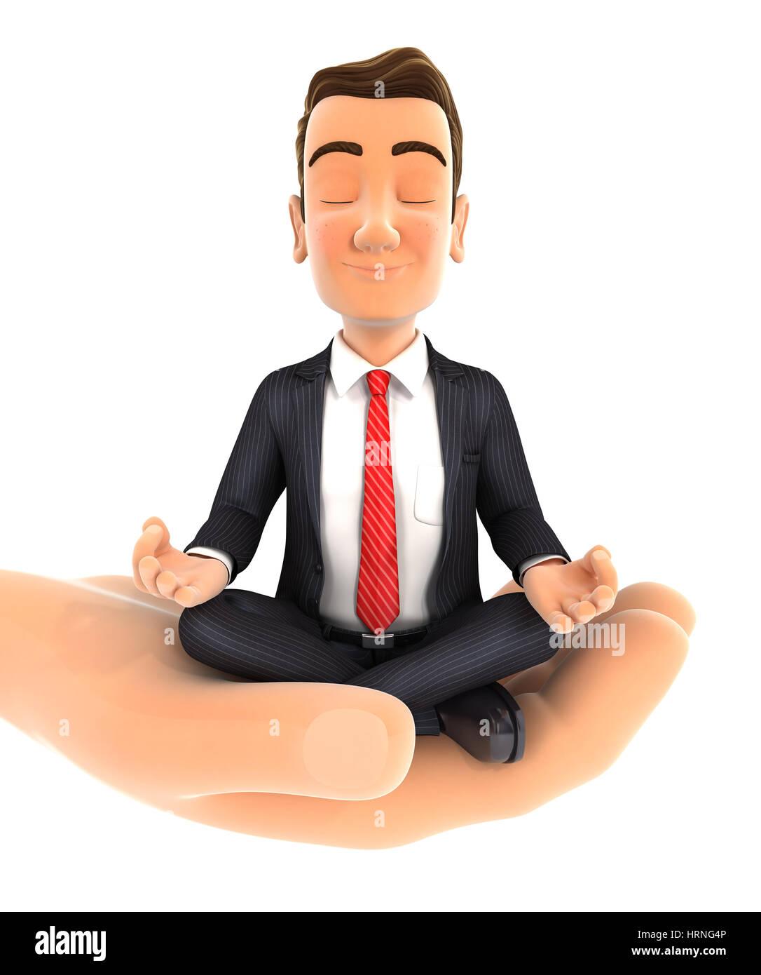 3d hand holding businessman doing yoga, illustration with isolated white background Stock Photo
