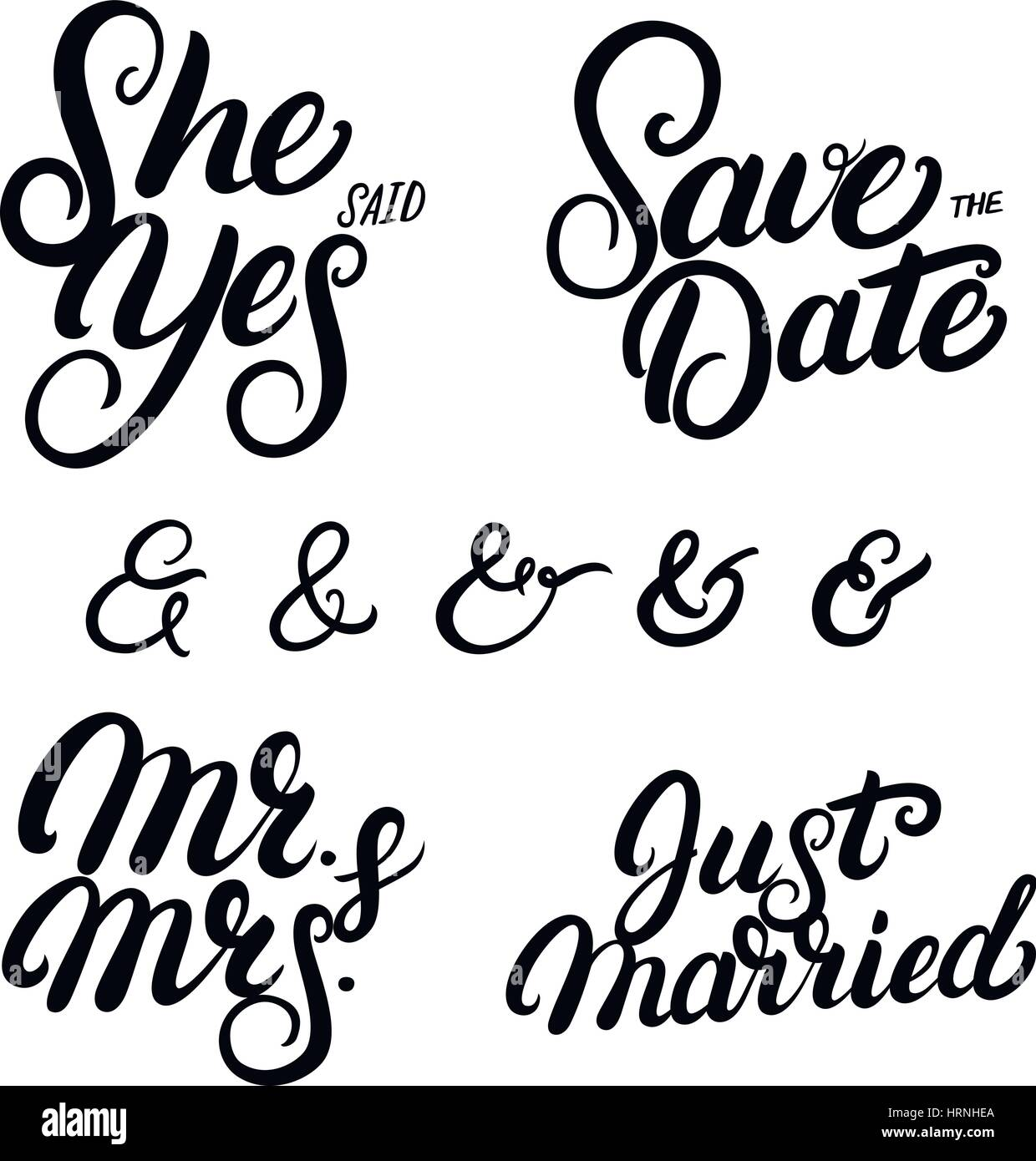 set of hand written lettering wedding quotes save the date she