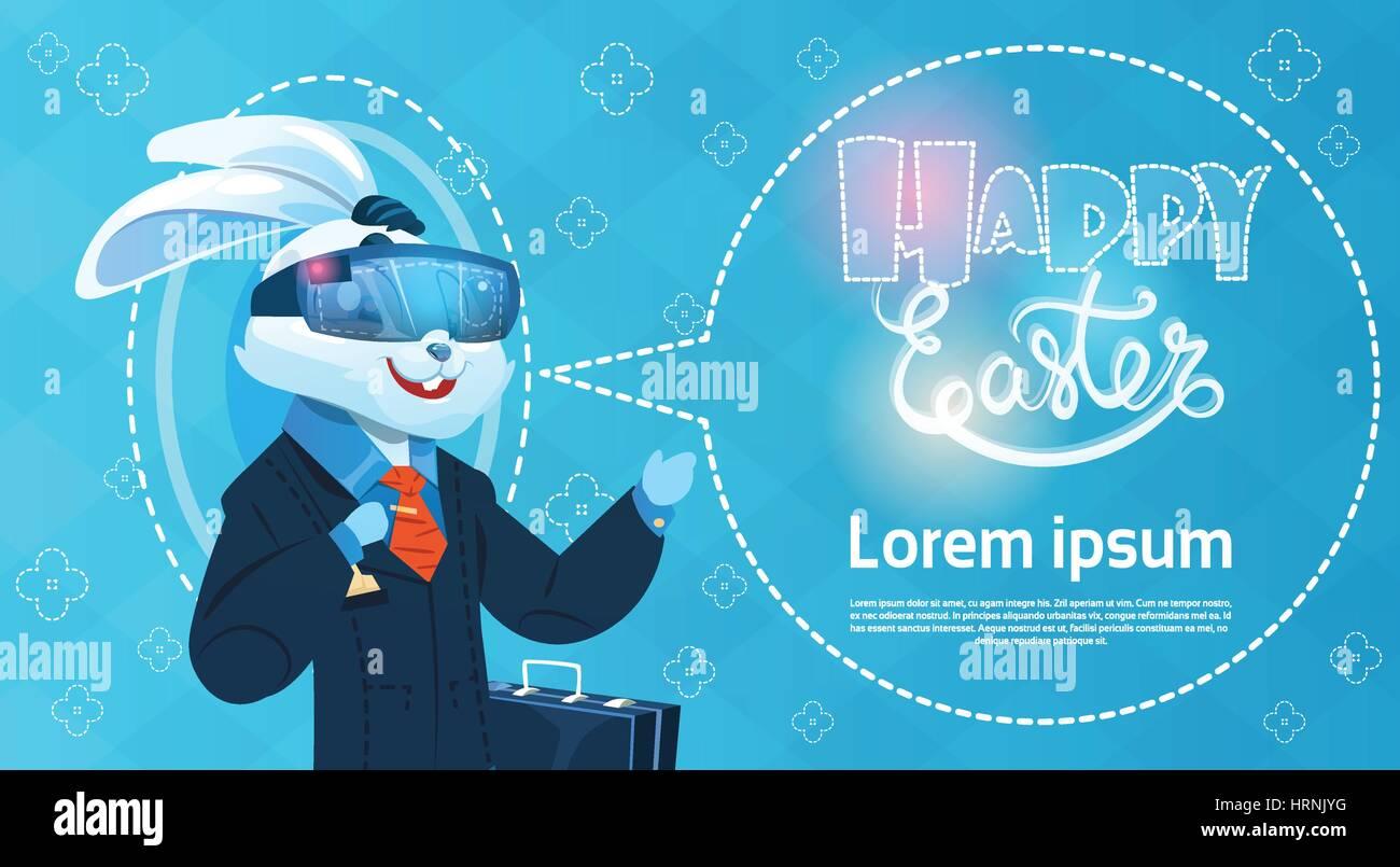 Rabbit wear digital glasses virtual reality easter holiday greeting rabbit wear digital glasses virtual reality easter holiday greeting card m4hsunfo