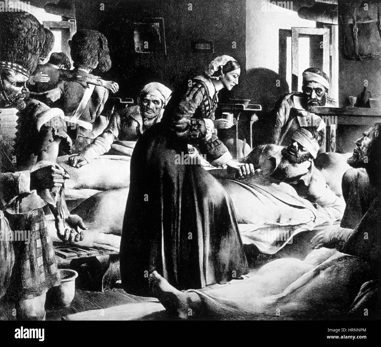 Crimean War, Florence Nightingale at Scutari - Stock Image