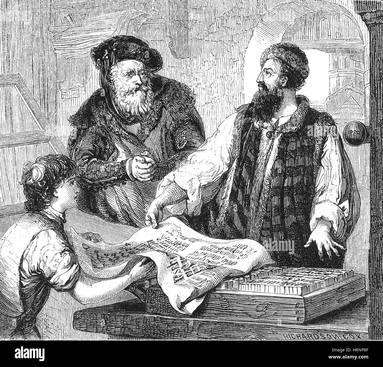 Johannes Gutenberg, German Inventor and Publisher Stock ...