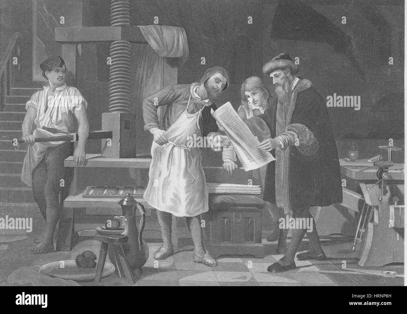 Printing Press Gutenberg Black And White Stock Photos Images Alamy Johannes Diagram German Inventor Publisher Image