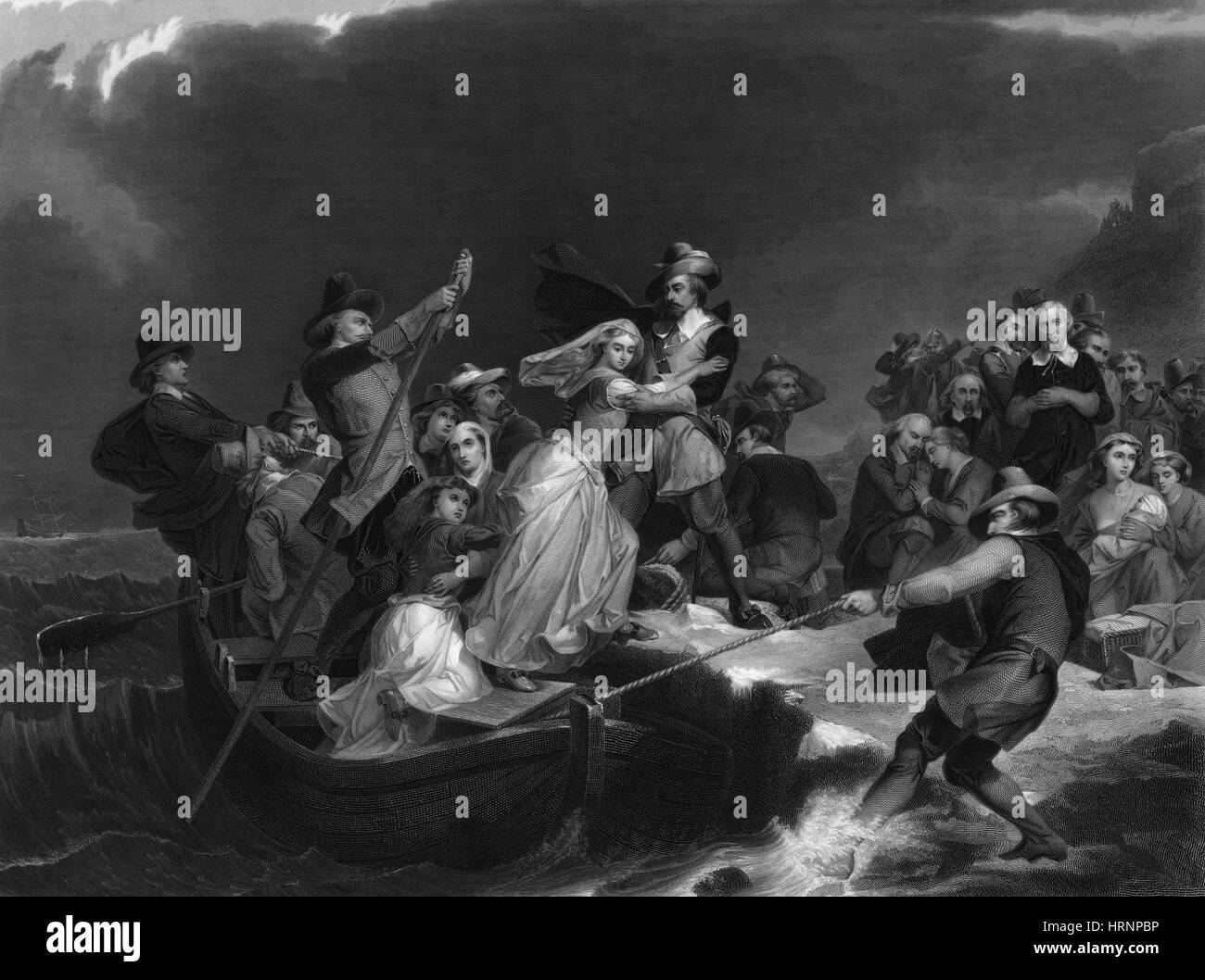 Landing of the Pilgrims On Plymouth Rock, 1620 - Stock Image