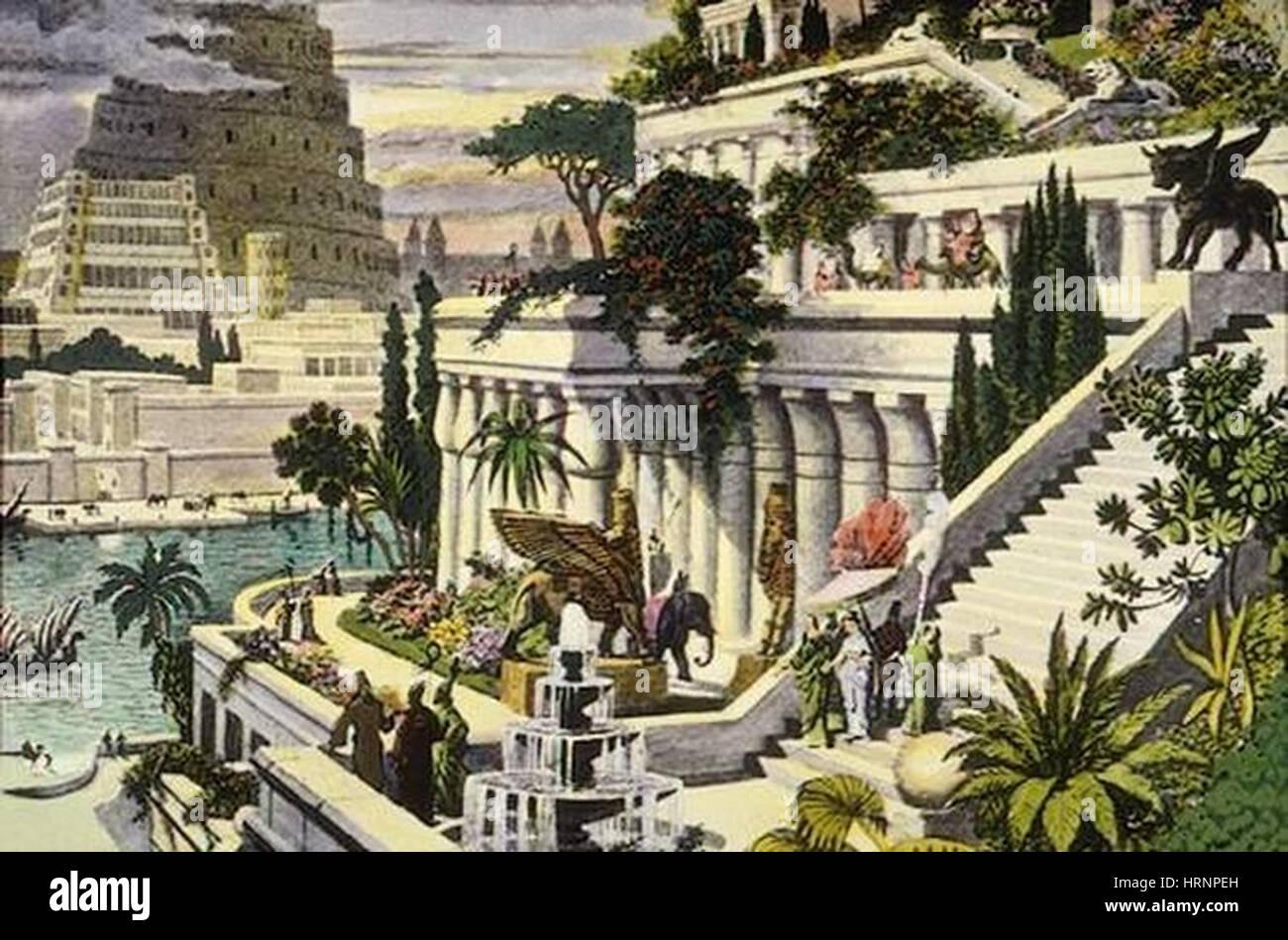 Ancient Wonder of the World, Gardens of Babylon Stock Photo