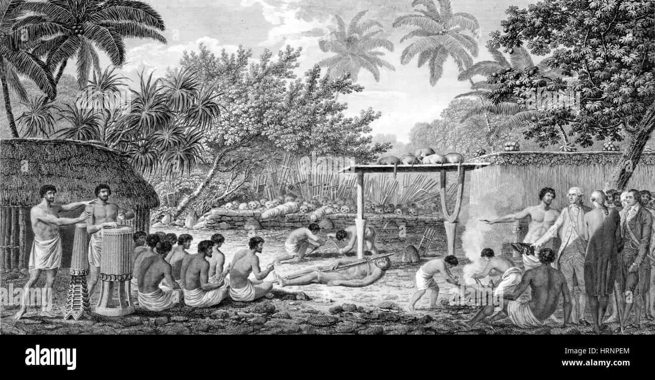 Captain James Cook Witnesses Human Sacrifice, 1773 - Stock Image