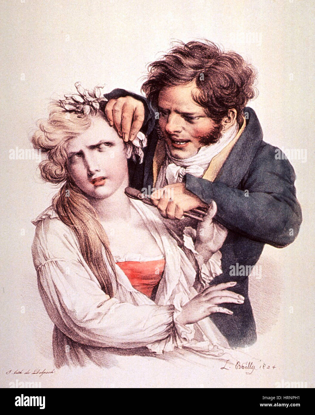 The Culture of Beauty, Hair Curling, 1824 - Stock Image
