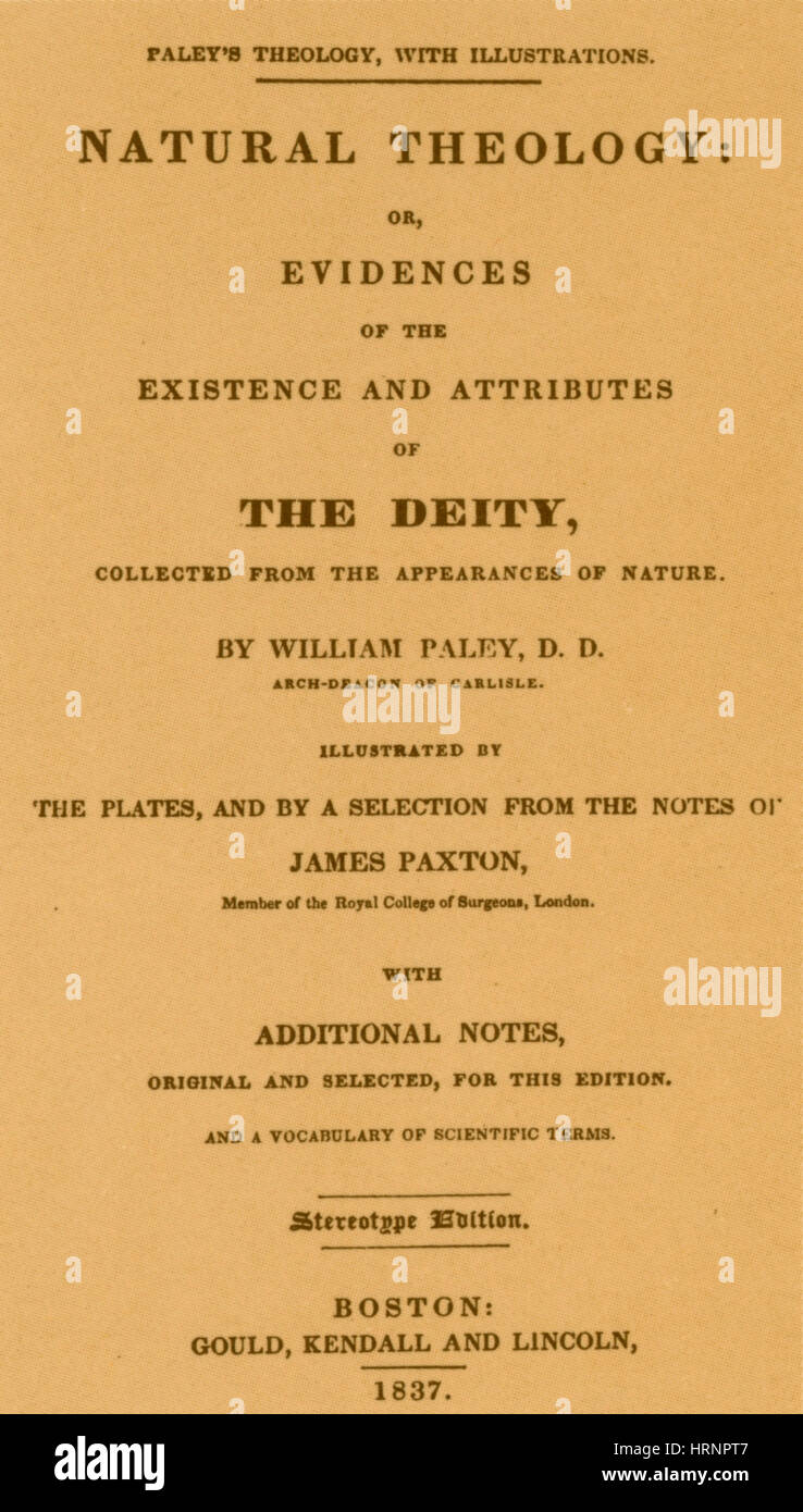 William Paley's, 'Natural Theology', Revised Edition 1837 - Stock Image