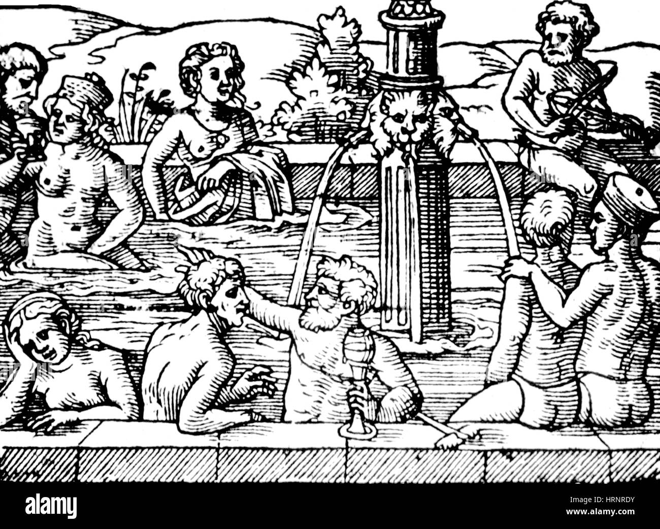 Balneology, Open-Air Bath, 1571 - Stock Image