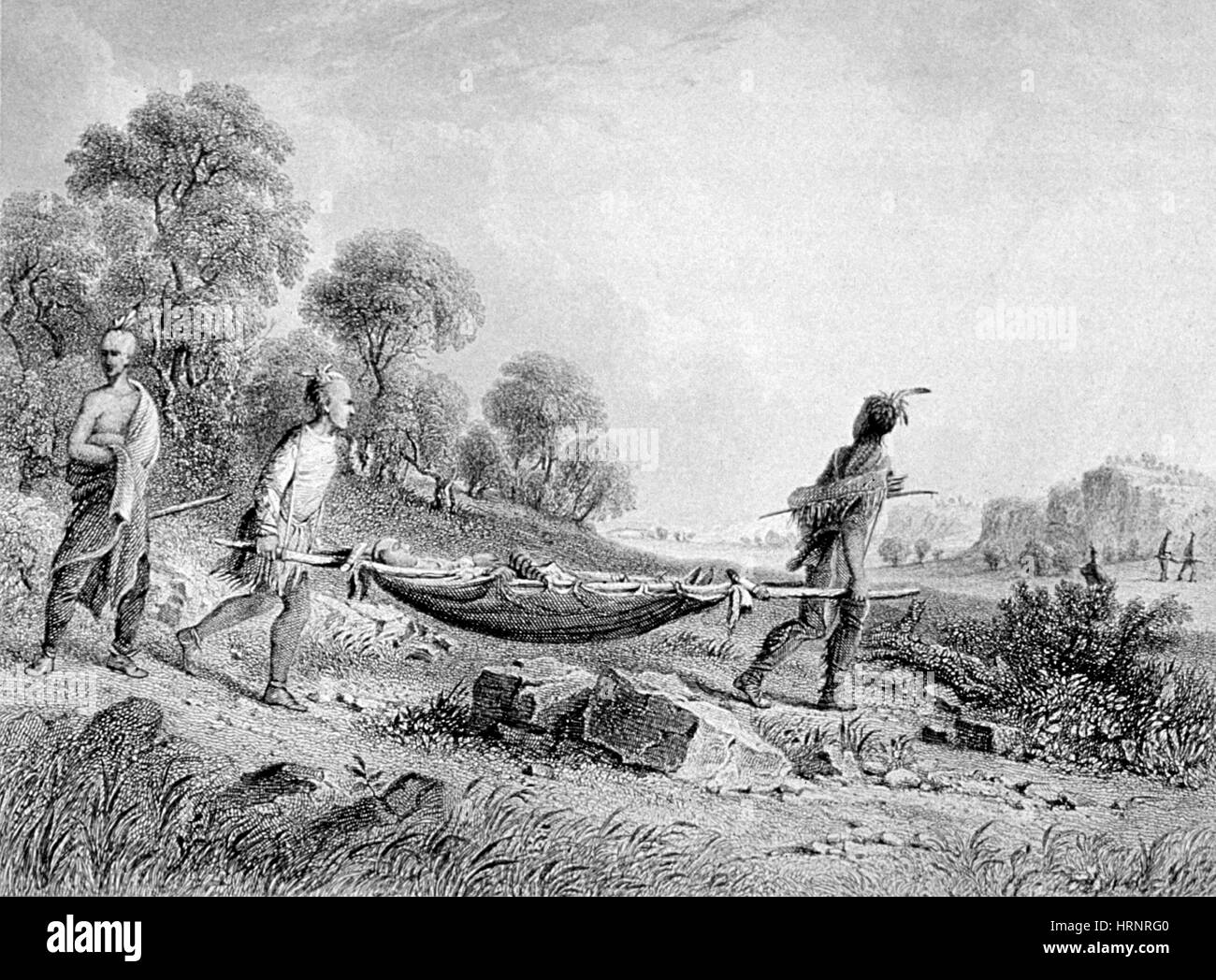 American Indians Transport Wounded, 19th Century - Stock Image